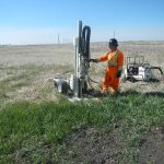 Core drilling to test soil