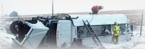 Emergency Response At A Flipped Truck In Winter