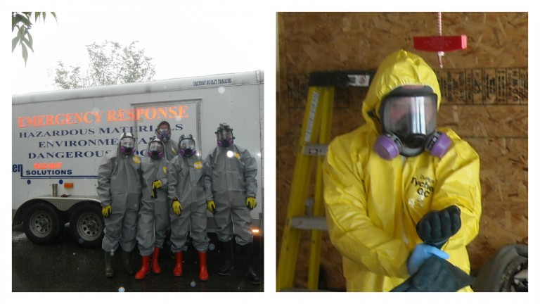 Emergency Response Team in front of hazardous materials truck