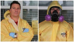 Dean May Owner And Operator Wearing Yellow Hazmat Suit Credited Training for MayKen HazMat Solutions