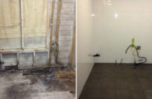 Before and after of mould in bathroom
