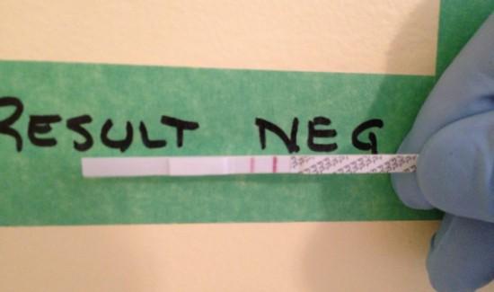 Negative fentanyl test strip