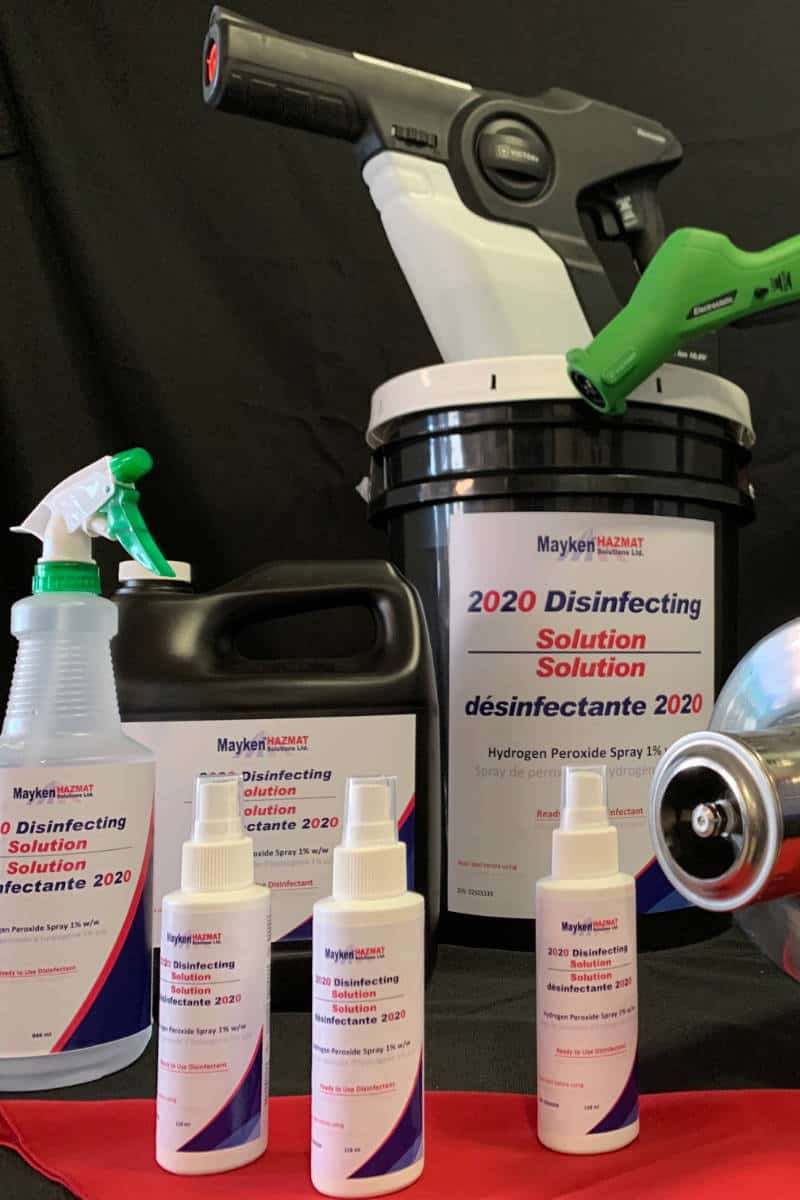 Various disinfectant spray bottle and container sizes